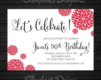 Red Birthday Invitation, adult, 21st, 30th, 40th, 50th, 60th, 70th, handwritten font, women, custom invite, digital file, you print, DIY