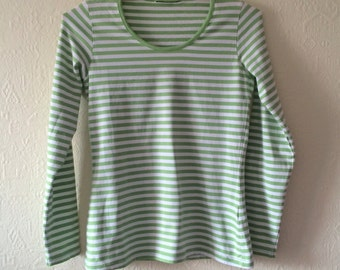 Striped Top Womens Fitted Shirt Green White Striped Shirt Nautical Top Long Sleeves Sweater Sailor Shirt Cotton Small Size