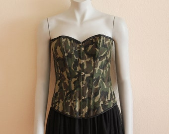 Camouflage Corset Military Corset Over Bust Corset Steel Boned Corset Open Back Steampunk