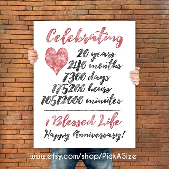20th anniversary 20 Year Anniversary Gift Print Wedding Anniversary ...
