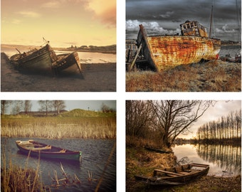 Old Boats - Old Boat Photo - Boats Photo Set - Boats Prints - Set of 4 Photos - Photo Set - Set of Four - Digital Photo - Digital Download