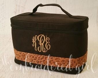 Black Leopard Train Case, Makeup Case, Train Case, Travel Bag