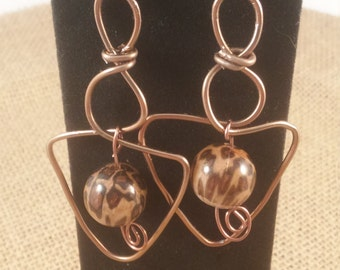 Leopard and Antique Bronze Wire Earrings