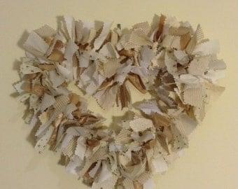 Cream and Gold Fabric Heart Wreath