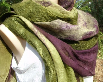 Nuno Felted Scarf, wool and silk, green + lime + elderberry