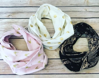 Three (3) for 20 scarf bibs or bandana bibs. Your choice of fabric and pattern.