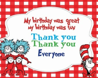Instant DL Dr suess thank you card- Dr Suess party, Dr suess party, Thing 1 & Thing 2