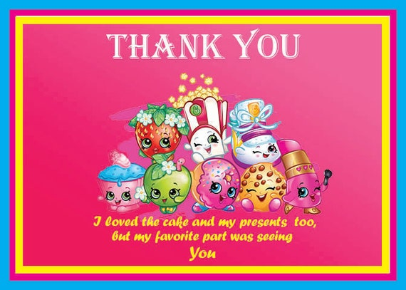 Instant Download - Shopkins thank you card- Shopkins Birthday ...