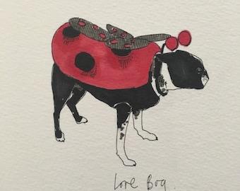 Boston Terrier love Bug illustration