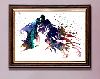 Harry Potter, Stag Patronus and Dementor, Watercolor print, watercolor painting, aquarelle, colorful, Instant Download