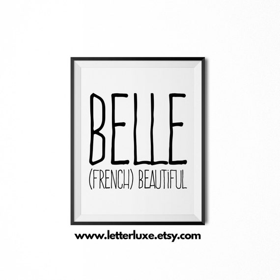 Belle name meaning art printable baby shower gift nursery belle name meaning art printable baby shower gift nursery printable art digital print nursery decor typography wall decor negle Gallery