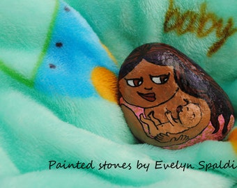 Mother and child art - Hand painted stone - New mom - First mothers day - Breastfeeding art - Stone art - Motherhood art - Mothers day gift