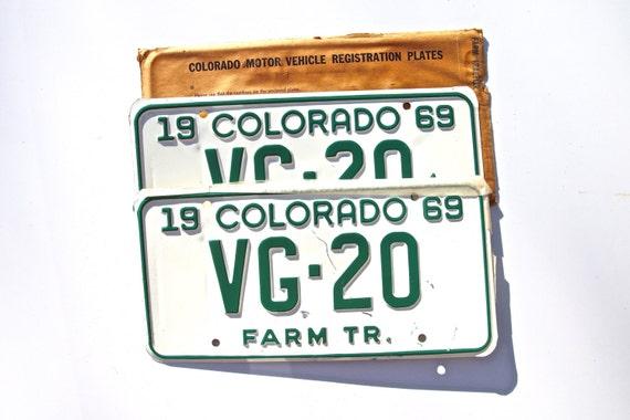 Tractor Car Tags : Colorado license plates farm tractor vg by americanantique