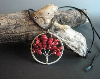 Red coral tree of life pendant on leather