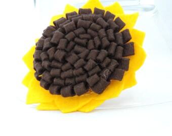 Felt Sunflower Brooch, Handbag or Scarf Pin