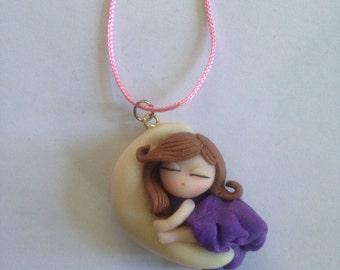 Necklace with Sleeping Girl Pendant