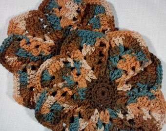 Dish Cloths, Set of Two, Wash Cloths, 100 % Cotton, Handmade Crochet, Browns and Teal