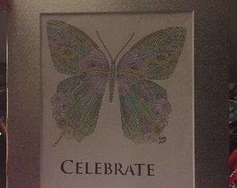Butterfly , Watercolor pencil art 8 X 10