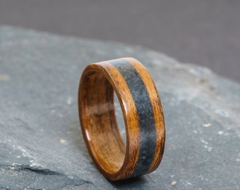 Amazaque  and Welsh slate ring - exotic African wood and dark Welsh slate. For wedding, anniversary or as a gift.