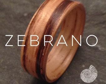 Zebrano Ring - Handmade Natural Organic Bentwood Wooden Artisan Ring Alternative Wedding Ring
