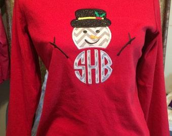 snowman monogram shirt