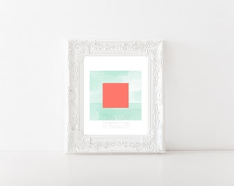Coral and Mint Square Print