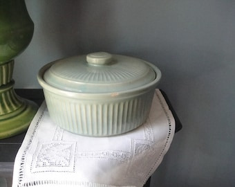 Vintage green crockery with lid