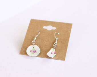 Porcelain Teacup and Saucer Dangle Earrings