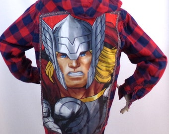 Blue shirt red plaid pattern Thor Size L Brand: Spirit