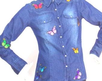short shirt ASKustom4U badges butterflies T38 / 40 Esmara