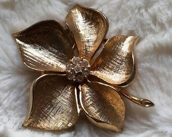 Signed Allison Reed Brushed Gold Tone Flower with Rhinestones, Vintage Brooch Pin