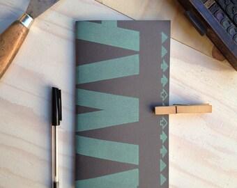 Quaderno Letterpress: VerdeSuGrigio / GreenOnGrey Letterpress Notebook