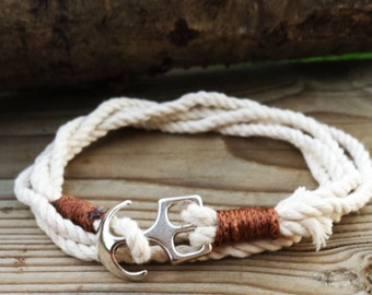 Rope Bracelet Anchor Bracelet Nautical Bracelet Hemp Rope Marine Bracelet Sea Lovers Nautical Bracelet