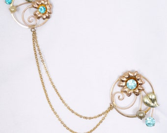 Vintage Chatelaine Pin marked Bal-Ron circa 1940's gold chains