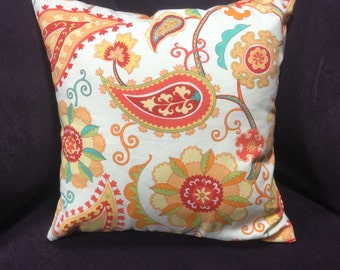 White Orange Pillow, Throw Pillow, Pillow Cover, Cushion, Decorative Pillow, Accent  Pillow,  Home Decor, 16x16 Pillow, Throw Pillows