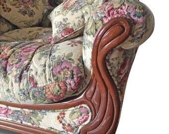 Old armchair with exclusive upholstery
