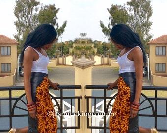Ankara/black brocade midi skirt