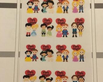 Date night Princess planner stickers