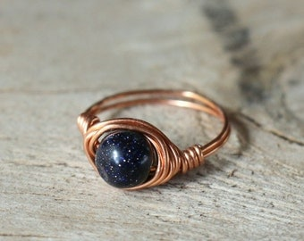 Blue Goldstone Ring, Natural Wire-Wrapped Gemstone Ring, Bohemian Blue Crystal Ring, Simple Hippie Gemstone Ring