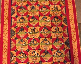 Red/Yellow Rooster Lap Quilt