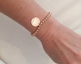 Rose gold filled, bead bracelet with AA charm.