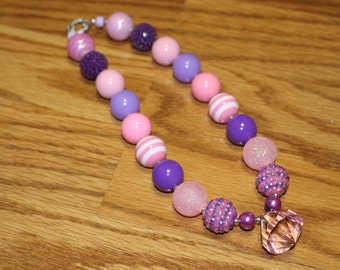 Pink and Purple Chunky Beaded Necklace with Jewel