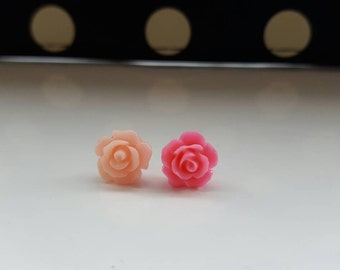 Mixed Pink Rose Small Stud Earrings