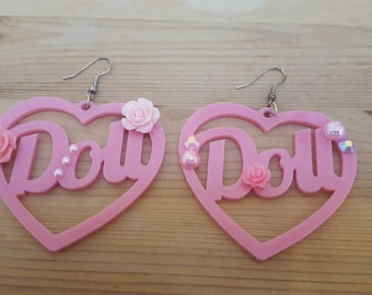 Doll Pink Rose Jewel Dangle Earrings