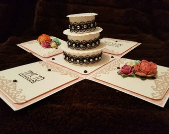 Happy birthday exploding box with cake