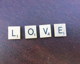 "Magnetic ""LOVE"" scrabble tiles, scrabble tiles, love scrabble tiles, magnets, wedding gifts, wedding decor,"