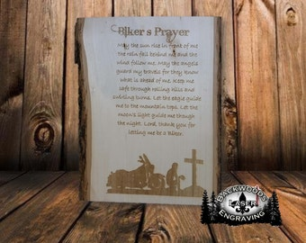 Biker's Prayer laser engraved