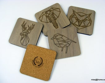 Geometric etched plywood Walnut veneered coasters with cork backing Various Animals 4 pack