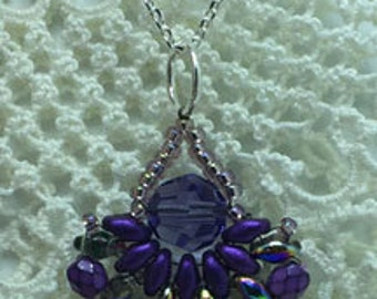 Swarovski Purple Velvet Crystal Pendant, Beaded lightweight, Small but makes a statement, jkmkArts, P106