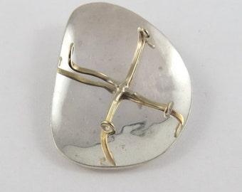 "Sterling Silver Vintage ""X"" Brooch"